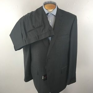 Laurentino mens suit solid gray 48r italy ea0260